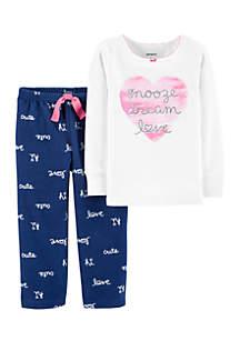 Toddler Girls 2-Piece Love Cotton and Fleece PJs