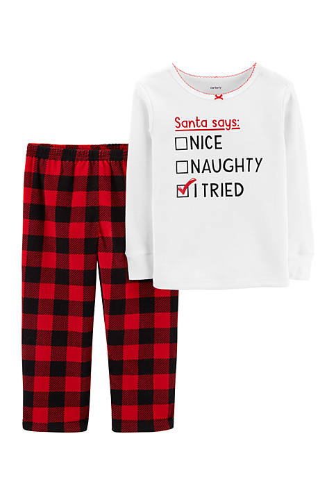 Carter's® Toddler Girls Christmas Thermal and Fleece Pajama