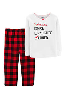 Toddler Girls Christmas Thermal and Fleece Pajama Set