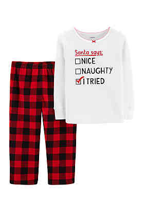 carters toddler girls christmas thermal and fleece pajama set