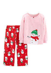 Toddler Girls Christmas Snowman Fleece Pajama Set