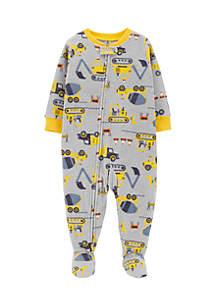 Toddler Boys 1-Piece Construction Fleece PJs