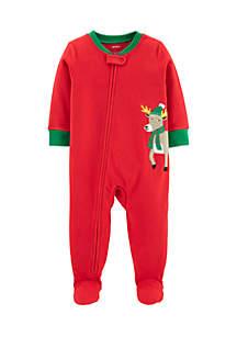 Toddler Boys One-Piece Christmas Reindeer Fleece Pajamas