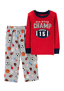 Toddler Boys 2-Piece Football Snug Fit Cotton and Fleece PJs