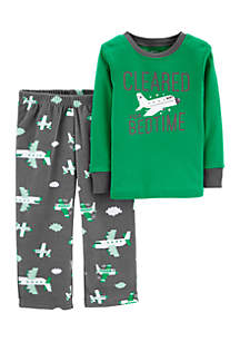 Toddler Boys 2-Piece Airplane Cotton and Fleece PJ Set