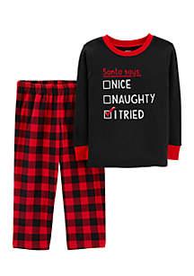 Toddler Boys Christmas Thermal and Fleece Pajama Set