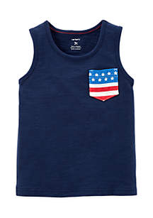 Toddler Boys American Flag Pocket Tank