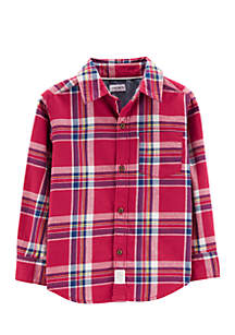 Boys Toddler Plaid Flannel Button-Front Shirt