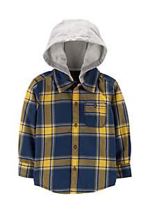 Boys 2-7 Short Sleeve Woven Hooded Shirt