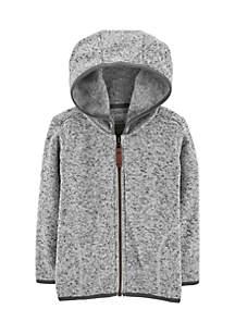 Toddler Boys Zip-Up Fleece-Lined Grey Hoodie