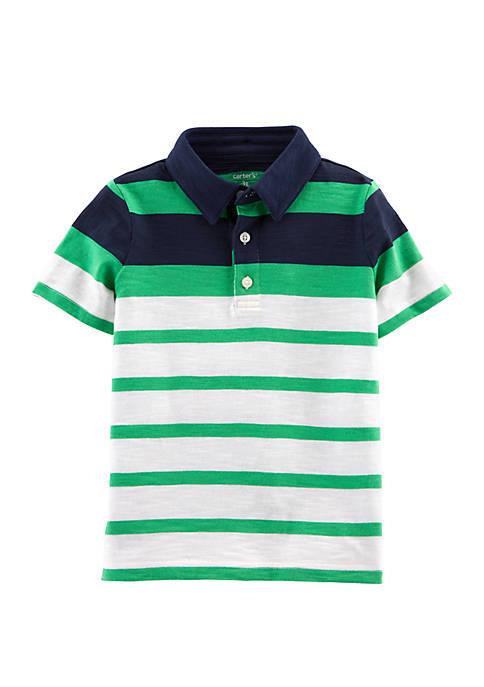 Toddler Boys Striped Slub Jersey Polo