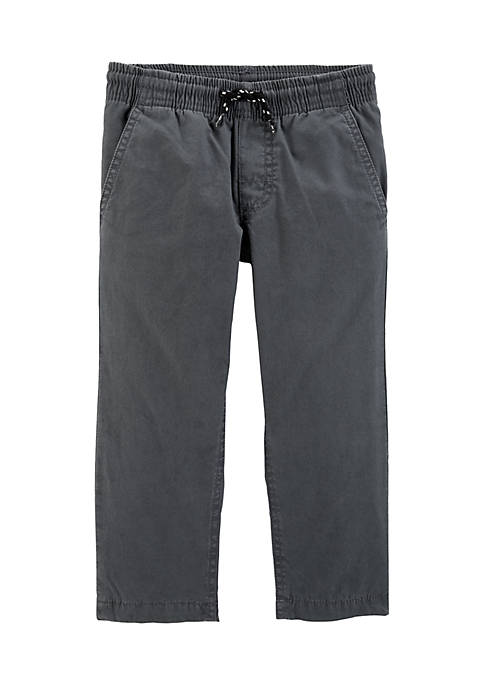 Toddler Boys Lined Pull-On Grey Pants