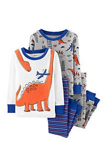Toddler Boys 4-Piece Dinosaur Snug Fit Cotton PJs
