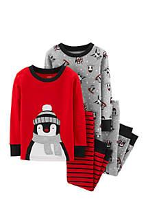 Toddler Boys 4-Piece Penguin Snug Fit Cotton PJs