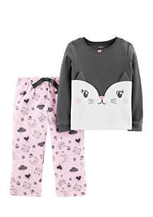 Toddler Girls 2-Piece Cat Fleece PJs