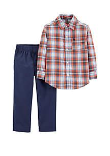 Carter's® Toddler Boys 2-Piece Button-Front Top and Denim Pants Set