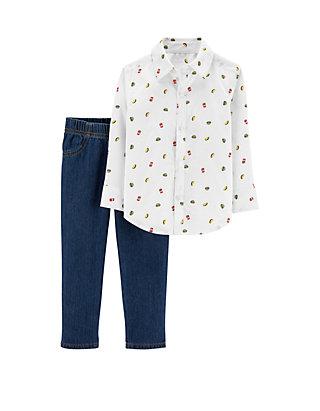 f03ec7284 Carter's® Toddler Boys 2-Piece Taco Button-Front Shirt and Denim Pants Set