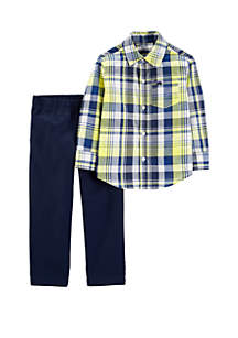Carter's® Toddler Boys 2 Piece Plaid Button Front and Canvas Pants Set
