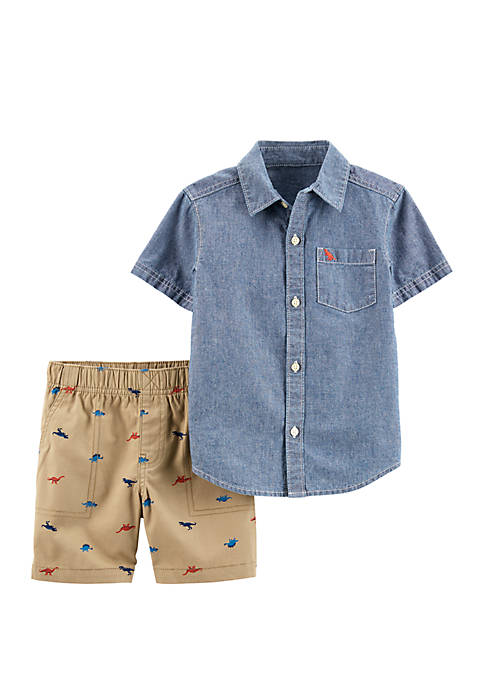 Toddler Boys 2-Piece Chambray Shirt and Dinosaur Short Set