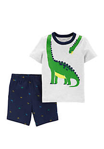 Carter S Toddler Boys 2 Piece Dinosaur Tee And Schiffli Short Set