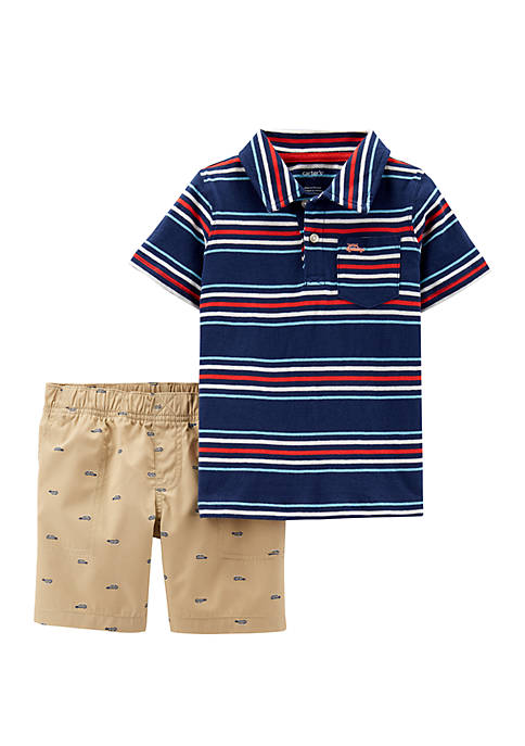 Carter's® Toddler Boys 2 Piece Striped Jersey Polo