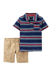 Carter's® Toddler Boys 2 Piece Striped Jersey Polo and Schiffli Short Set