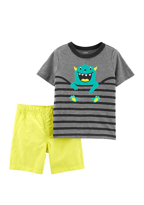 Toddler Boys 2 Piece Monster Tee and Poplin Short Set