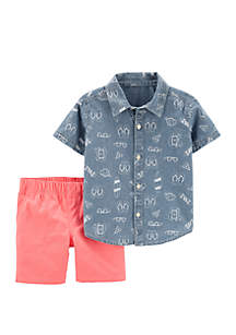 Carter's® Toddler Boys 2 Piece Beach Chambray Button Front Top and Canvas Shorts Set