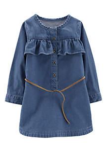Girls 4-6x Chambray Denim Belted Dress