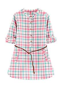 Girls 4-6x Plaid Belted Dress