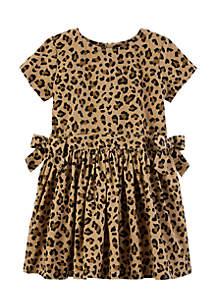 Toddler Girls Cheetah Corduroy Dress