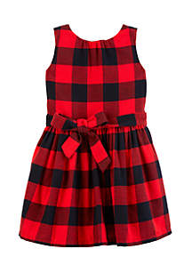 Toddler Girls Buffalo Check Flannel Holiday Dress
