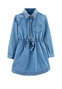 Toddler Girls Embroidered Jean Dress
