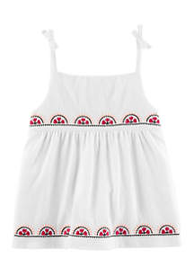 Toddler Girls 4-6x Multi Embroidered Knit Gauze Top