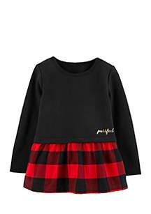 Toddler Girls Plaid Fleece Peplum Top