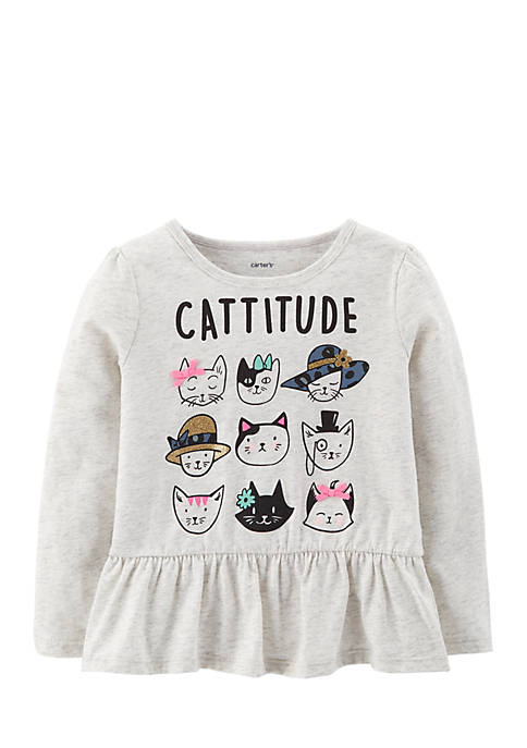 Carter's® Toddler Girls Cattitude Tee