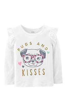 Toddler Girls Pugs and Kisses Tee