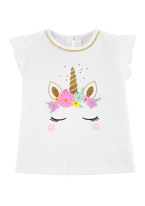 Carter's® Toddler Girls Unicorn Tulle-Sleeve Top