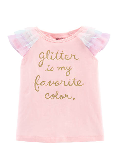 Carter's® Toddler Girls Glitter Tulle-Sleeve Top