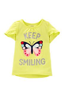 Carter's® Toddler Girls Glitter Butterfly Tulip-Sleeve High Low Tee