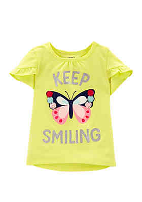 74aef0524523 Carter's® Toddler Girls Glitter Butterfly Tulip-Sleeve High Low Tee ...
