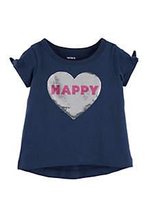 Carter's® Toddler Girls Sequin Heart Split Shoulder Tee