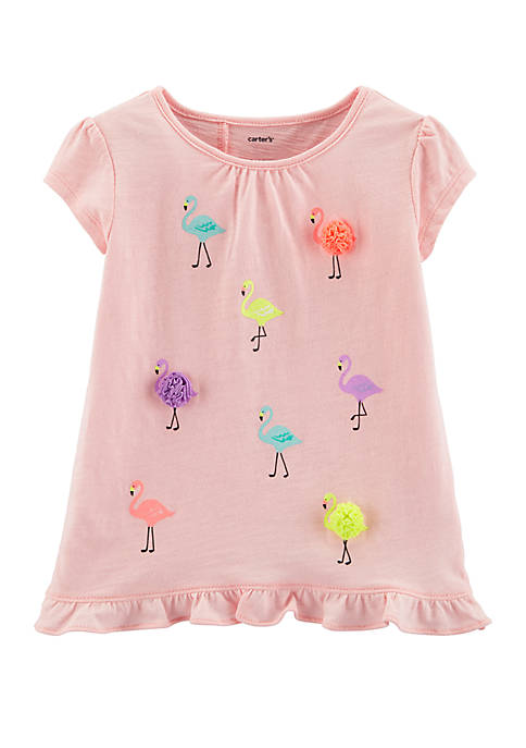 Girls Toddler Flamingo Tulip Back Slub Tee