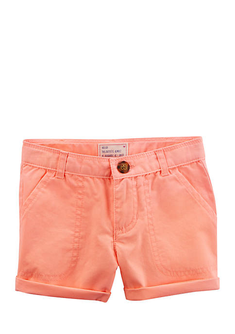 Carter's® Toddler Girls Neon Twill Roll-Cuff Shorts