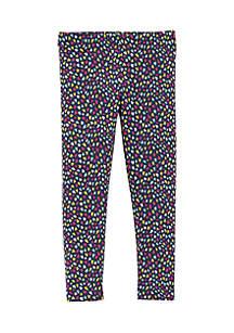 Girls 2-6 Black Multicolored Heart Leggings