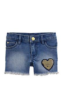 Carter's® Toddler Girls Sequin Heart Denim Shorts