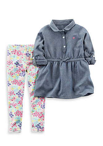 bf8d4d40cdad7 Carter's® 2-Piece Chambray Shirt and Floral Leggings Set Toddler Girls