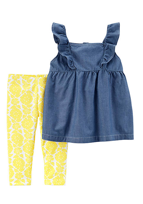 Carter's® Two-Piece Chambray Flutter Top and Floral Leggings