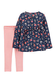 Girls 2-6 Woven Navy Floral Top and Pink Pants Set