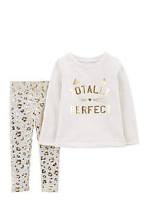 Toddler Girls  2-Piece Totally Perfect Top and Leggings Set